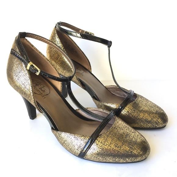 fa163f9e054 New Life stride Gold T Strap Mary Jane Heels 8